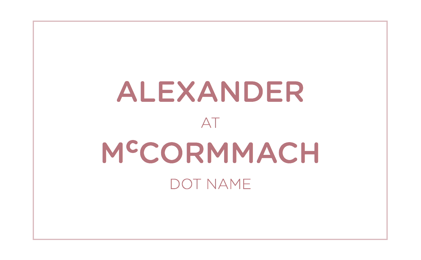 Alexander [at] McCormmach [dot name]
